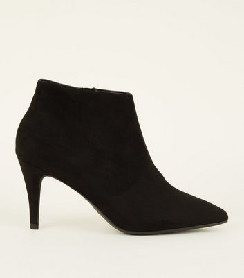 Wide Fit Black Suedette Pointed Stiletto Shoe Boots by New Look
