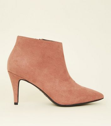 Wide Fit Pink Suedette Pointed Stiletto Shoe Boots
