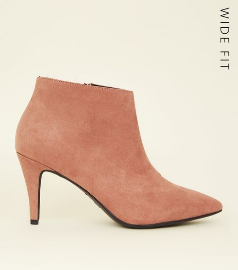33236c68fb7b ... Wide Fit Pink Suedette Pointed Stiletto Shoe Boots ...