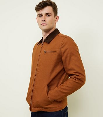 Tan Corduroy Collar Trucker Jacket