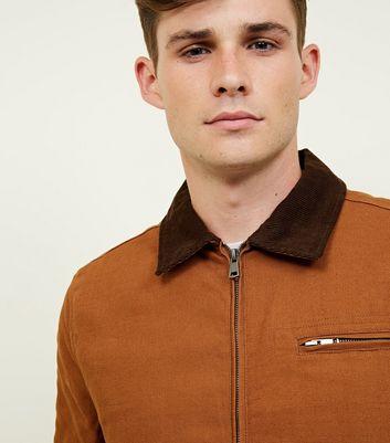 shop for Men's Tan Corduroy Collar Trucker Jacket New Look at Shopo