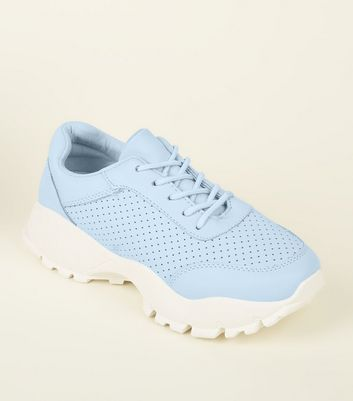 Pale Blue Perforated Lace Up Chunky Trainers by New Look