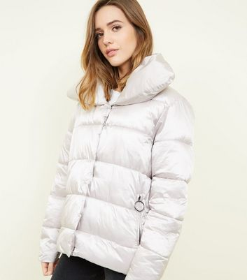 Blue Vanilla Silver Quilted Puffer Jacket