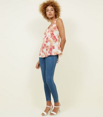 Apricot Cream Floral Cross Back Top New Look