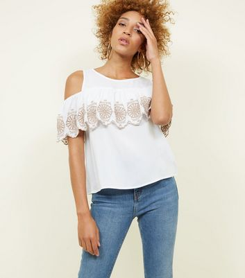 Apricot White Frill Embroidered Cold Shoulder Top