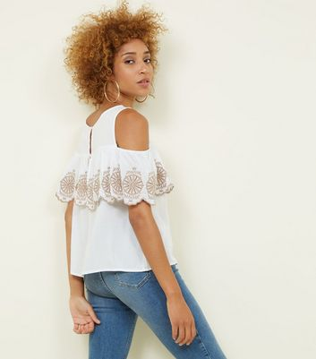 Apricot White Frill Embroidered Cold Shoulder Top New Look