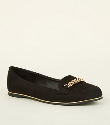 Girls Black Suedette Chain Front Metal Trim Loafers