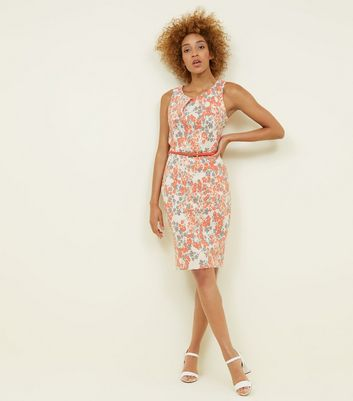 Apricot Cream Floral Contrast Belted Waist Dress New Look