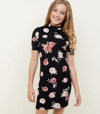 Girls Black Floral High Neck Bodycon Dress
