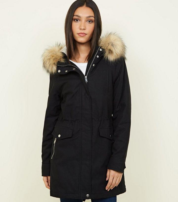 9d31c1745245 Black Faux Fur Hooded Parka Jacket