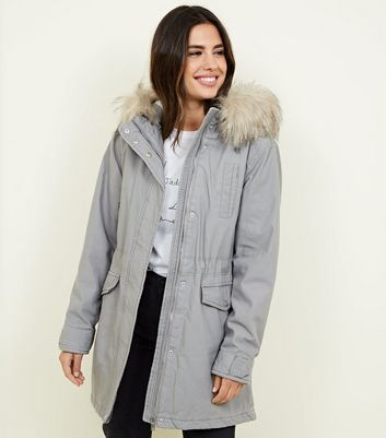 Pale Grey Faux Fur Hooded Parka Jacket