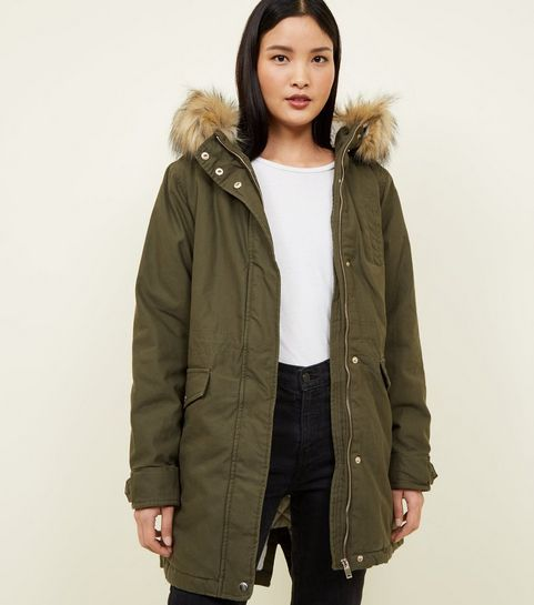 a4ed16b5b81 ... Khaki Faux Fur Hooded Parka Jacket ...