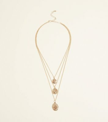 Gold Layered Locket Pendant Necklace by New Look