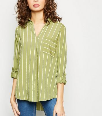 Green Jacquard Stripe Pocket Front Overhead Shirt
