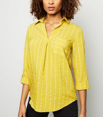 Yellow Jacquard Stripe Pocket Front Overhead Shirt