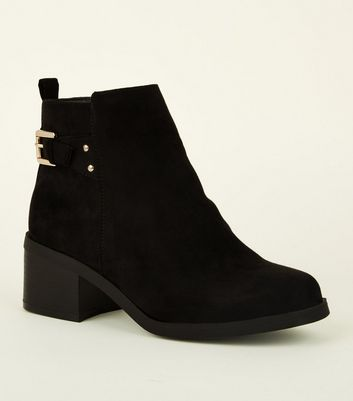 Girls Black Suedette Square Toe Ankle Boots