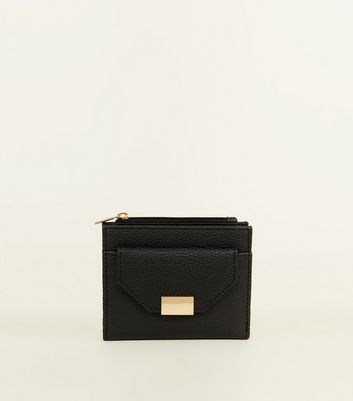Black Leather-Look Foldover Small Purse
