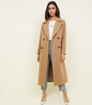 Camel Double Breasted Maxi Coat