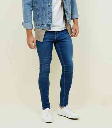 Blaue superenge Skinny-Stretch-Jeans