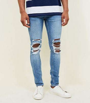 Pale Blue Ripped Knee Stretch Super Skinny Jeans