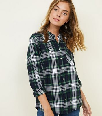 Petite Green Check Cotton Shirt