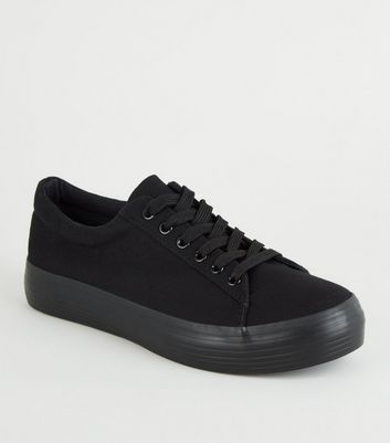 white canvas lace up flatform trainers