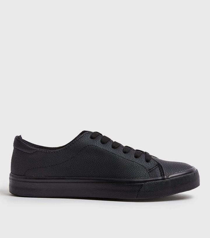 d35278db8e8a Black Leather-Look Lace Up Trainers