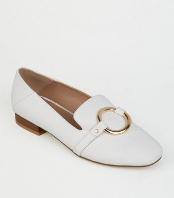 White Faux Snake Ring Front Loafers