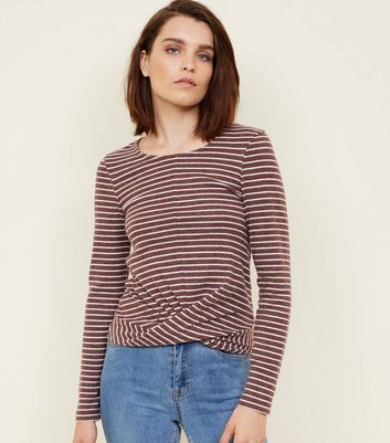 Brown Stripe Brushed Twist Front Top