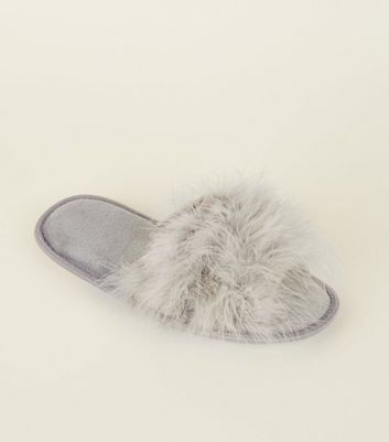 Grey Fluffy Feather Slider Slippers