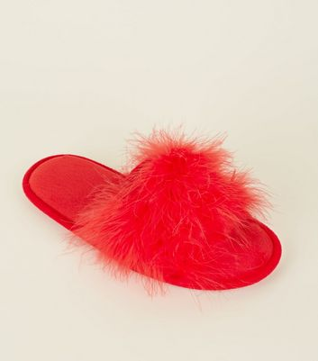 Red Fluffy Feather Slider Slippers