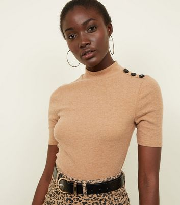 Camel Brushed Rib Button Half Sleeve Top