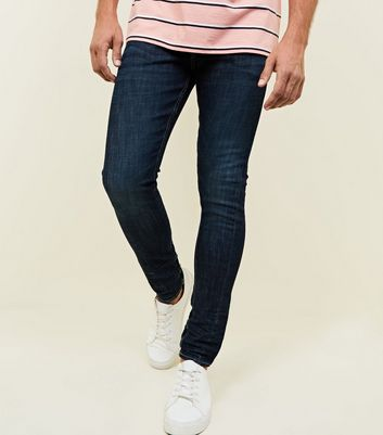 Navy Contrast Stitch Twist Seam Jeans