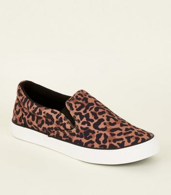 Stone Leopard Print Canvas Slip On Trainers
