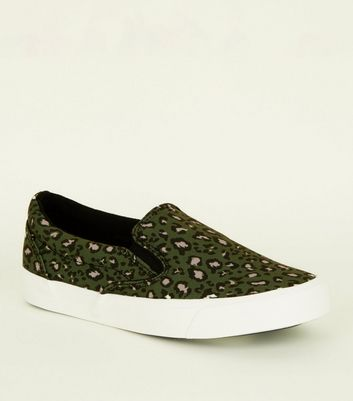Green Leopard Print Canvas Slip On Trainers