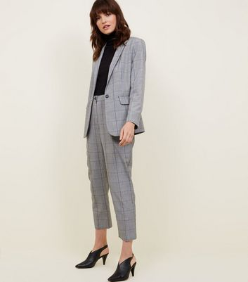 Light Grey Check Single Breasted Blazer