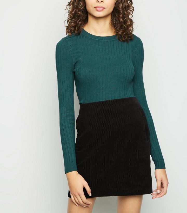 fa34cb2602 Black Corduroy Mini Skirt   New Look