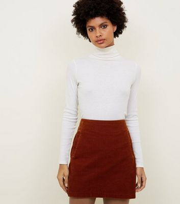 Dark Brown Corduroy Mini Skirt