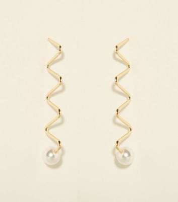Gold and Faux Pearl Zig Zag Wire Earrings