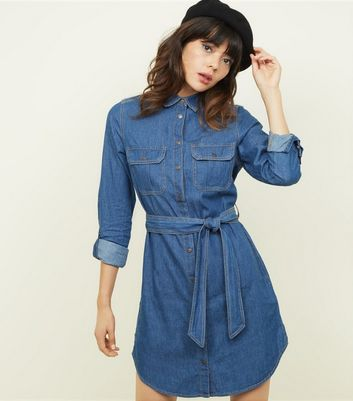 Blue Tie Waist Lightweight Denim Shirt Dress