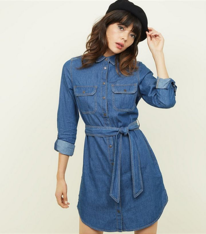 d053a54c26609 Blue Tie Waist Lightweight Denim Shirt Dress | New Look