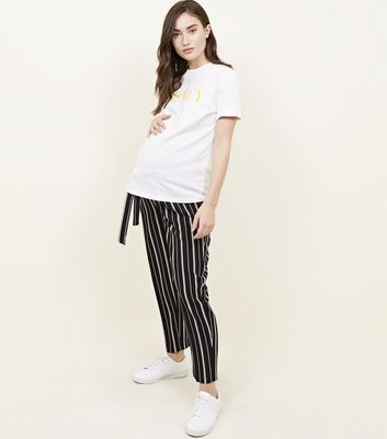Maternity Black Stripe Tie Waist Trousers