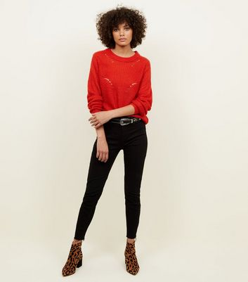 JDY Red Pointelle Jumper New Look