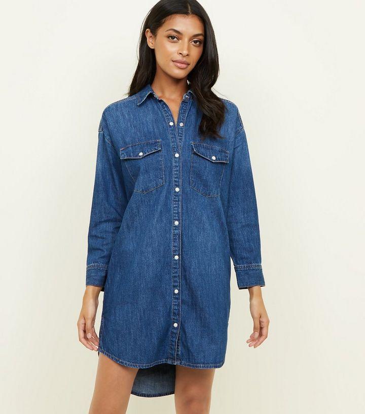 bf341987e0 Blue Denim Popper Front Shirt Dress