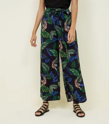 Blue Vanilla Black Jungle Print Wide Leg Trousers New Look