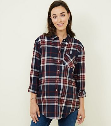 Maternity Navy Check Long Sleeve Shirt