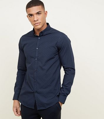 Navy Long Sleeve Ditsy Print Shirt