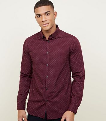 Red Long Sleeve Ditsy Print Shirt