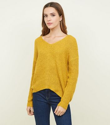 JDY Mustard V-Neck Knit Jumper