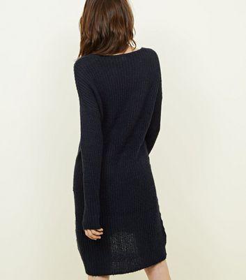 JDY Navy V Neck Knitted Dress New Look